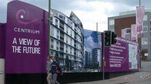 building site advertsing hoarding