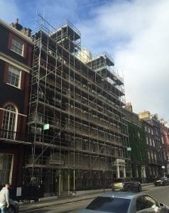 Scaffolding before building wrap